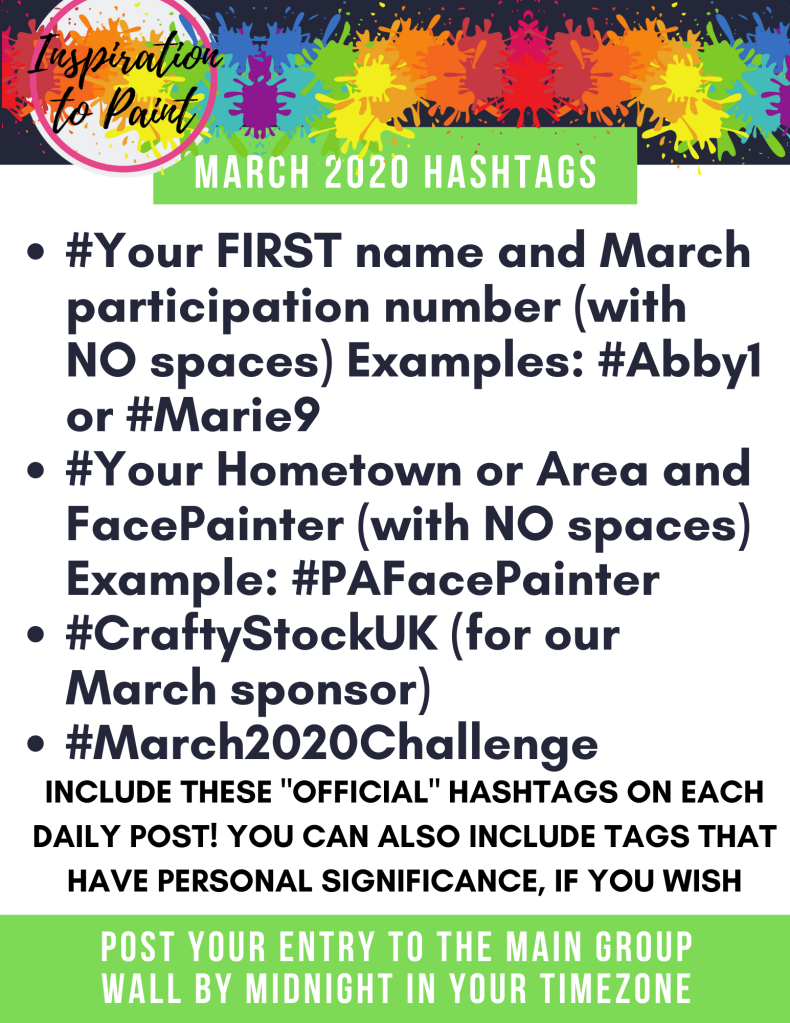 March 2020 Inspiration to Paint hashtags